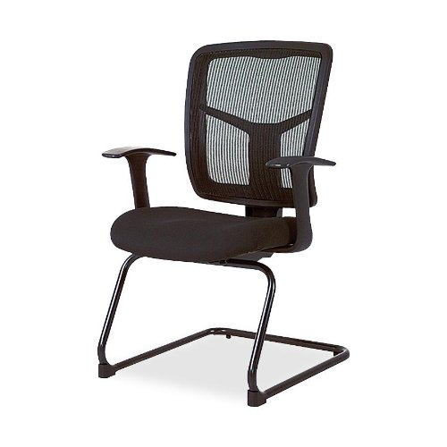 "Lorell  Guest Chair, Mesh Fabric, 27""x27-1/2""x41"", Black"