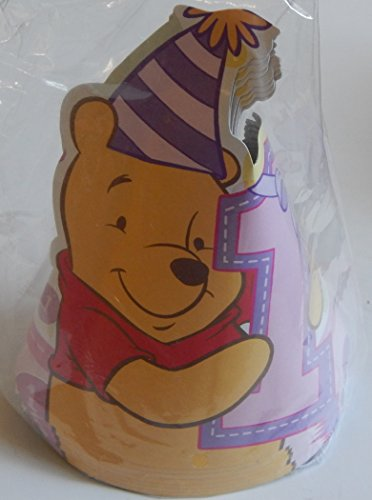 Winnie the Pooh 1st Birthday Girl Party Cone Hats 8 Pack
