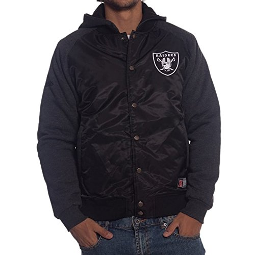 MAJESTIC GIACCA BOMBER BRISK HOODED NFL RAIDERS NERO-L