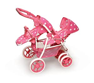 Amazon Com Reversible Double Doll Stroller Pink Polka