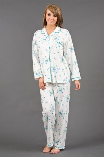 Womens/Ladies Nightwear Drop Needle Interlock Floral Pyjama Suit, Various Colours & Sizes