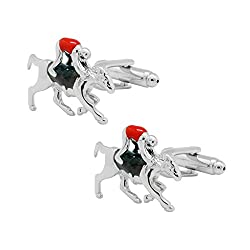 Durby Horse With Red Jockey Cufflinks