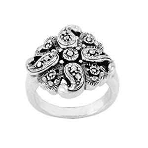 Sterling Silver Marcasite Flower Swirl Ring, Size 6