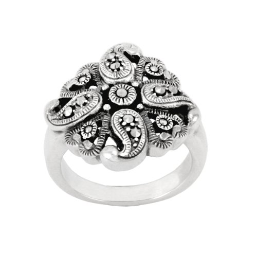 Sterling Silver Marcasite Flower Swirl Ring, Size 7