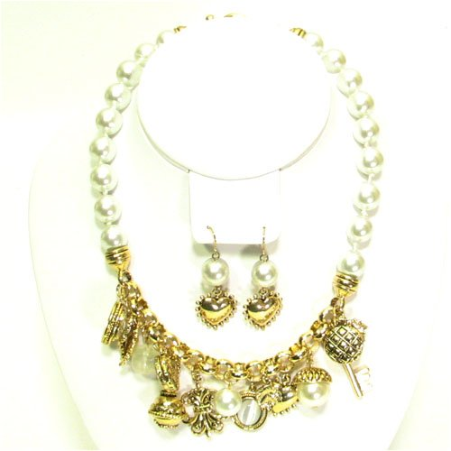 White Multi Charm Gold Tone Necklace Heart & Earrings
