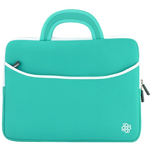 Kozmicc 15 - 15.6 Inch Laptop Sleeve Case (Mint Teal Turquoise Green/White) w/ Handle [Fits Up To 15.5 x 11.25 Inch Laptops]