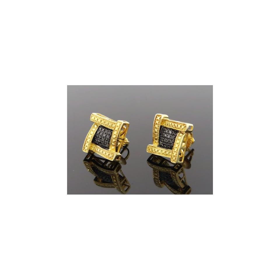 4ec85cc2620d6 Unique Mens .925 Sterling Silver Black 0.25ct Diamond Earrings on ...