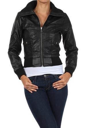 G2 Chic Women's Zip Bomber Jacket(OW-JKT,BLK-S)