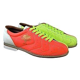 Bowlerstore Mens Glow TCR-GL Cobra Rental Bowling Shoes- Laces (9 1/2 M US, Neon Yellow/Orange/White)
