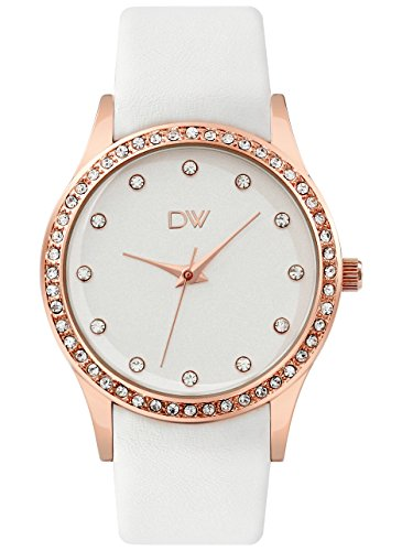 Women'S Watch Lady'S Watch, Dw Jewelry Fashion Classic Round Face Genuine Leather Strap Ladies Watch With Rosegold Tone White Dial 60 European Crystals And White Band