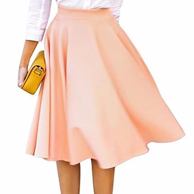 Solid Color Women OL High Waist Full Pleated Large Hem Fashion Midi Skirts Jupes