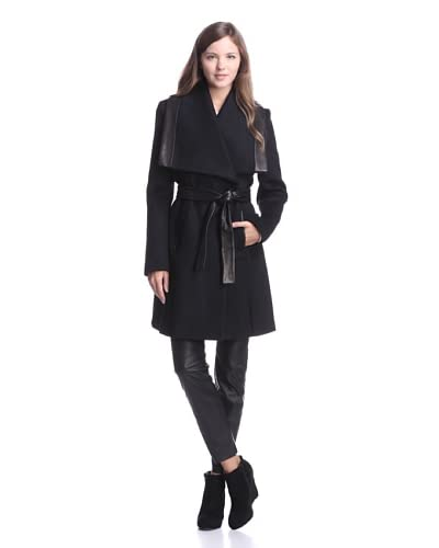 Elie Tahari Women's Marina Coat with Leather Trim  [Black]