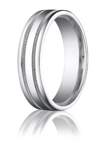 14K White Gold, 6mm Comfort-Fit Polished Milgrain Round Edge Band (sz 6.5)