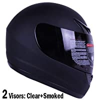 Matte Flat Black Full Face Motorcycle Helmet DOT +2 Visors Comes with Clear Shield and Free Smoked Shield (XXL) by Ivolution Sports, Inc