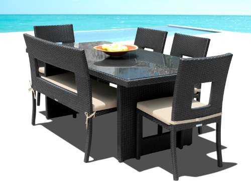 Outdoor Patio Wicker Furniture New All Weather Resin 6-Piece Dining Table Chair & Bench Set photo