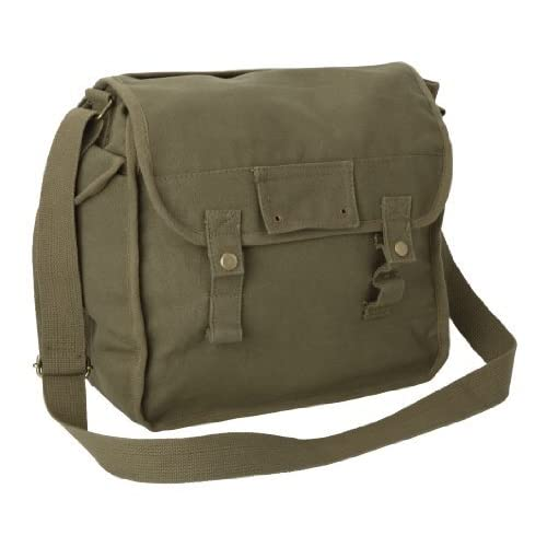 Large Cotton Canvas Side Bag - Olive