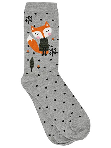 mco-ladies-one-pair-cotton-rich-pretty-spot-and-fox-design-grey-ankle-socks-grey-one-size