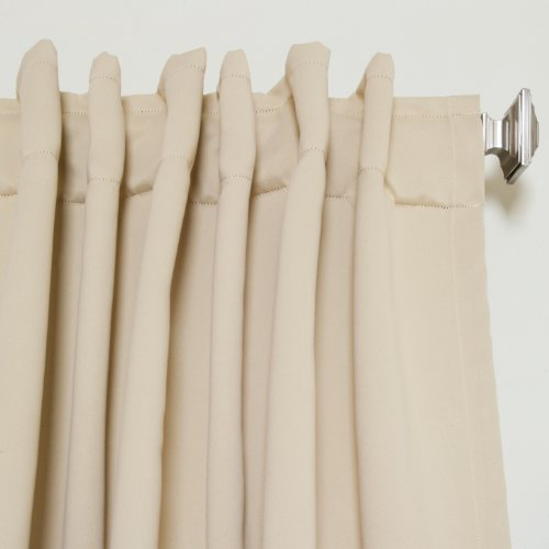 Beige Rod Pocket Energy Saving Thermal Insulated Blackout Curtain 108 Inch Length Pair Curtain
