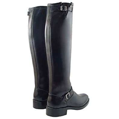 Raven Mens Man Men Motorcycle Califorinia Highway Engineer Police Patrol Tall Full Calf High Boots Boot, Footwear, with Buckle Brown Plus, 2plus Calf Sizes Available (7, Color: Black Calf: Plus)