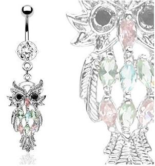 Owl Dangle Belly bar with Assorted CZ Gems - Surgical Steel 14 Gauge (1.6mm) by Gekko Body Jewellery