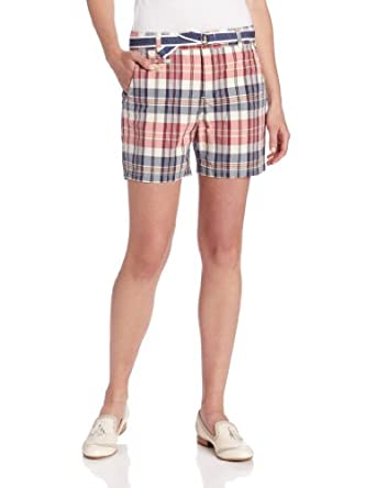 Dockers Women's Soft Belted Short, Morgan Plaid Jalapeno, 4 Medium