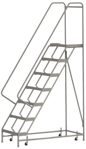 Tri-Arc WLAR107244 7-Step All-Welded Aluminum Rolling Industrial & Warehouse Ladder with Handrail, Ribbed Tread, 24-Inch Wide Steps