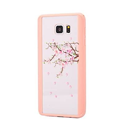 Urberry Galaxy Note 5 Case, Note 5 Silicon Cover, Peach Blossom Design Case for Samsung Galaxy Note 5 with A Screen Protector