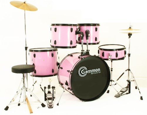 Buy Pink Drum Set Full Size 5 Piece Kit With Cymbals