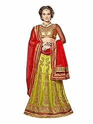 Stylish Womens Stylish Green Embroidered Lehenga Choli