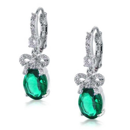 emerald Bling Jewelry Bridal Bow Ribbon Emerald Color CZ Drop Leverback Earrings