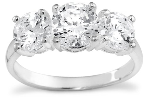 Sterling Silver 3-Stone Simulated Diamond Ring
