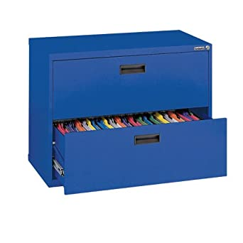 "Sandusky 400 Series Blue Steel Lateral File Cabinet with Plastic Handle, 30"" Width x 27-1/4"" Height x 18"" Depth, 2 Drawers"