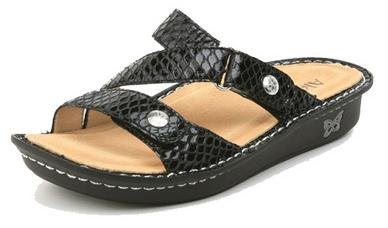 Alegria By PG Lite ALG-VEN-701 Black Snake 39/9-9.5 Womens Sandals $90