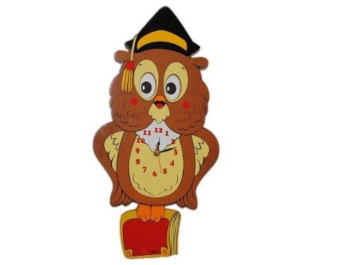 Wanduhr Eule / Uhu mit Pendel 41 cm Uhr Holz Kinder Kind Kinderzimmer Kinderuhr günstig kaufen