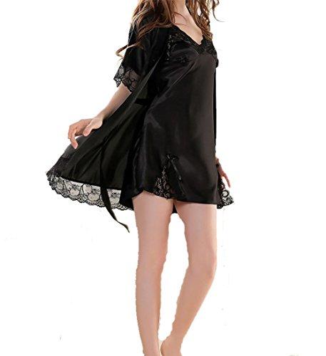 YUYU Cinturino in seta camicia da notte sexy due pezzi nobili donne pigiama a maniche corte , black , m