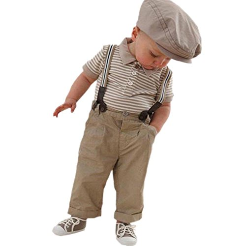 EGELEXY Baby Boy Striped Polo T-shirt Top + Pants Set Overalls Outfit