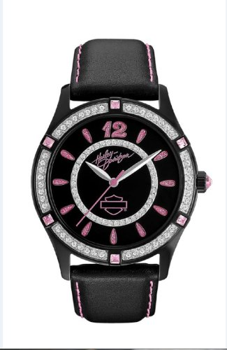 Harley-Davidson® Bulvoa Women's Pink Label Collection Watch. Swarovski Crystals. Black Leather Strap. 78L113