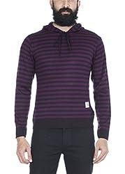 Zovi Acrylic Navy And Wine Striped Hooded Sweatshirt (10410596101_Large)