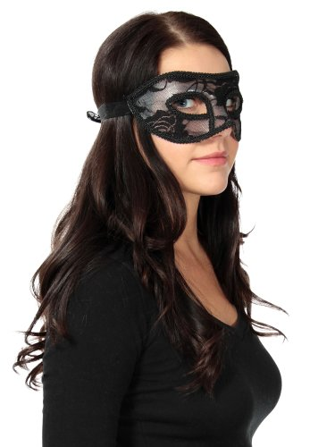 Mardi Gras Masquerade Party Costume Christmas Halloween Women Lace Mask, Black
