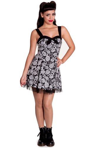 Hell Bunny dell'abito AVALON MINI DRESS 4306 nero/bianco Small