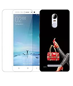 Indiashopers Combo of Hand Bag HD UV Printed Mobile Back Cover and Tempered Glass For Xiaomi Redmi Note 3