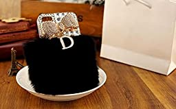 Bling Crystal Black Furry Rabbit Fur Bow \