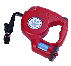 Pawhut 15 ft Retractable Pet Leash with Built-In LED Light / Bag Dispenser - Red
