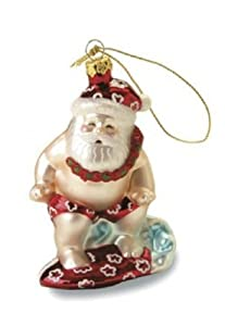 Island Heritage Surfing Santa Collectible Glass Ornament