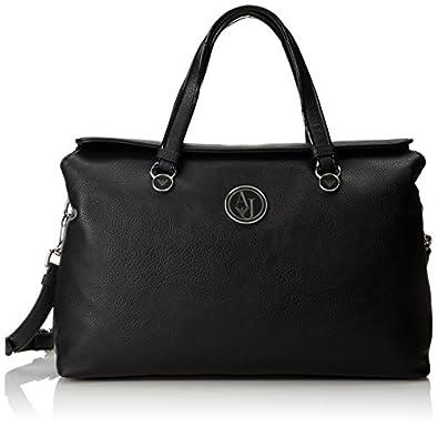 Armani Jeans U8 Bottalata Tumbled Matte Shopper Top Handle Bag,Black,One Size
