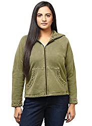 GRAIN Brown Color Regular fit Cotton Solid Jackets for Women