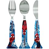 Marvel Comics Spiderman 3pc Cutlery Set Knife Fork Spoon / Amazing Spiderman Red Blue