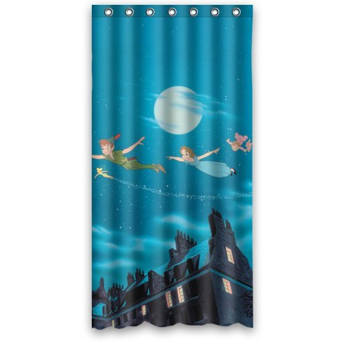 Custom Unique Design Cartoon Funny Peter Pan Waterproof Fabric Shower Curtain, 72 By 36-Inch
