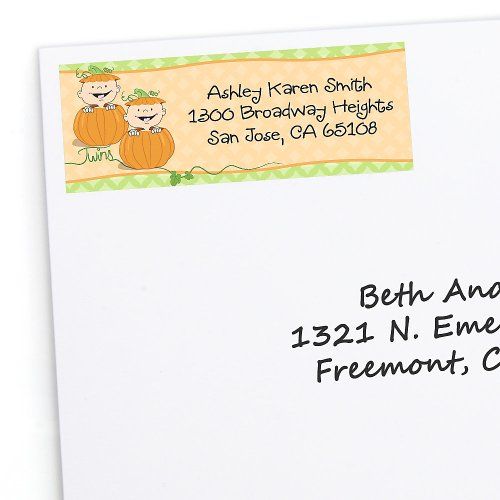 Twin Little Pumpkins Caucasian - Personalized Baby Shower Return Address Labels - 30 Ct front-698853
