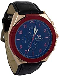 Addic EWWE Stylish Dark Blue Dial With Red Bezel And Gold Case Black Leather Straps Watch For Men (81)